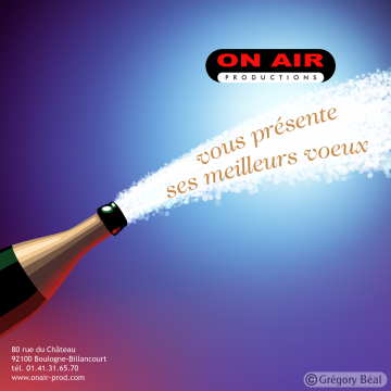 Carte de voeux 2006 ''Champagne'' pour On Air Productions, verso